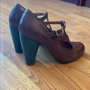 Chie Mihara t-strap pumps with blue heel